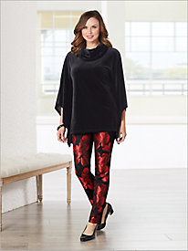 Stylish Stretch Velvet Poncho & Party Jacquard Pants