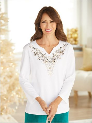 Bright Idea Embellished Yoke Knit Top by Alfred Dunner