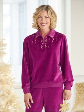 Bright Idea Velour Beaded Zip Neck Top by Alfred Dunner