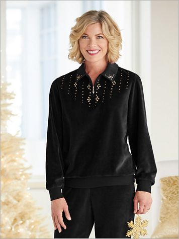 Bright Idea Velour Beaded Zip Neck Top by Alfred Dunner - Image 2 of 3