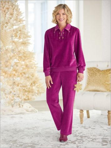 Bright Idea Velour Beaded Top & Velour Pants by Alfred Dunner