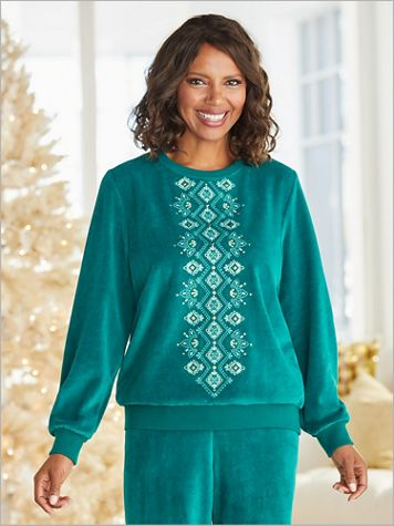Bright Idea Velour Diamond Embroidered Top by Alfred Dunner