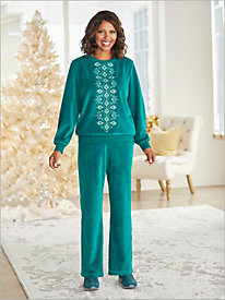 Bright Idea Velour Diamond Top & Velour Pants by Alfred Dunner