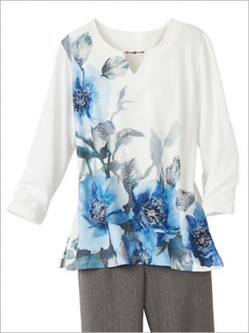 Sapphire Skies Asymmetric Floral Shimmer Knit Top by Alfred Dunner