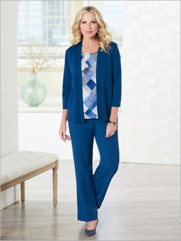 Sapphire Skies Diamond 2-Fer & Crepe Pants by Alfred Dunner
