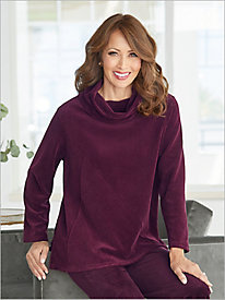 Cowl Neck Ribbed Velour Tunic by D&D Lifestyle™