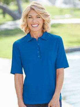 Scallop Trim Elbow Sleeve Polo