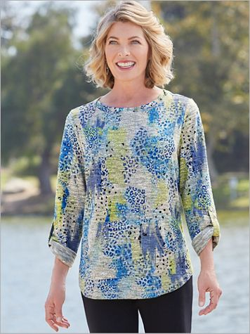 Marled Print Pullover by D&D Lifestyle™