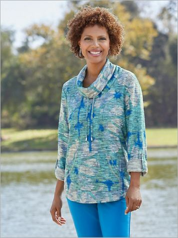 Marled Cowl Neck Pullover by D&D Lifestyle™ - Image 2 of 2