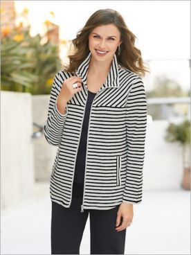 Zip Front Looped Stripe Terry Jacket by Ruby Rd.