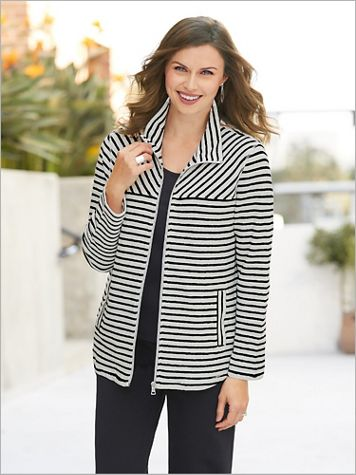 Zip Front Looped Stripe Terry Jacket by Ruby Rd. - Image 3 of 3