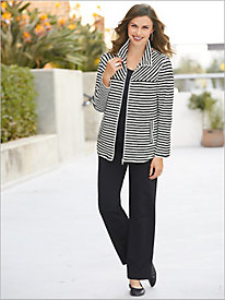 Ruby Rd. Zip Front Looped Stripe Jacket & French Terry Pant