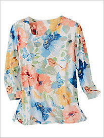 Pearls Of Wisdom Butterfly Floral Knit Top by Alfred Dunner