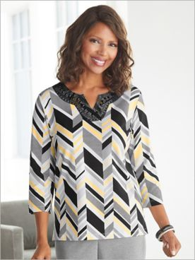 Riverside Drive Geometric Stripe Knit Top by Alfred Dunner