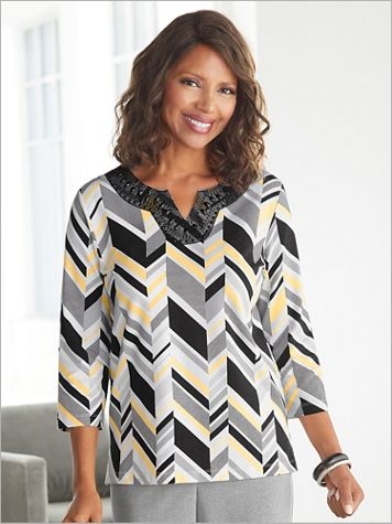 Riverside Drive Geometric Stripe Knit Top by Alfred Dunner - Image 3 of 3