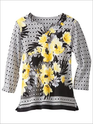 Riverside Drive Floral Geometric Knit Top by Alfred Dunner - Image 2 of 2