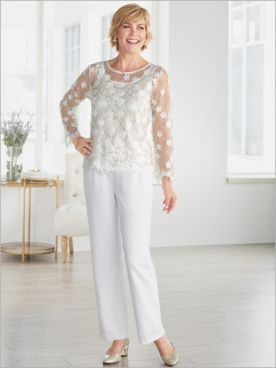Gilded Floral Mesh Top & Look Of Linen Pants