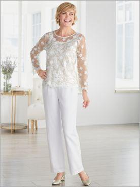 Gilded Floral Mesh Top & Look Of Linen Pants