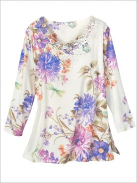 Alfred Dunner Knit Floral And Dragonfly 3/4 Sleeve Top