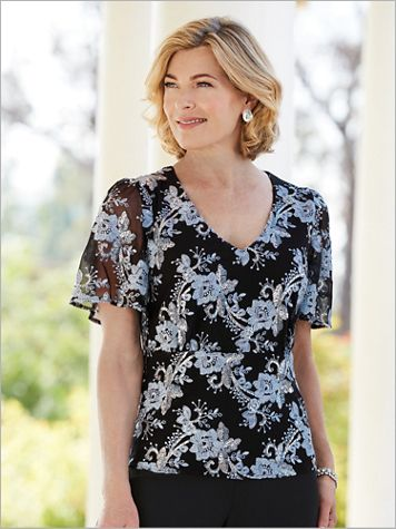 Alex Evenings Blooming Embroidered Special Occasion Top - Image 2 of 2