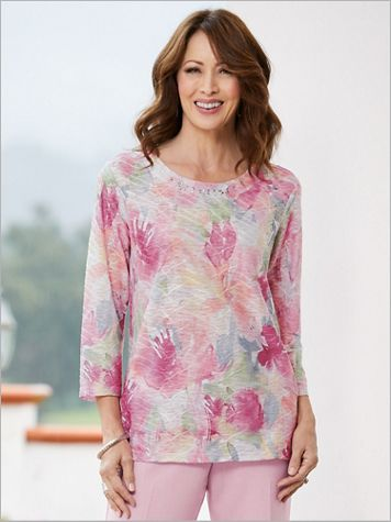 Primrose Garden Abstract Floral Texture Knit Top by Alfred Dunner - Image 0 of 1