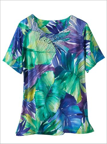 Alfred Dunner Knit Tropical Leaves Print Short Sleeve Top - Image 0 of 1