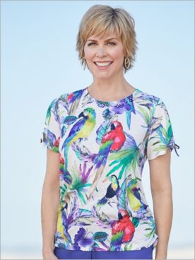 Alfred Dunner Knit Parrot Print Short Sleeve Top