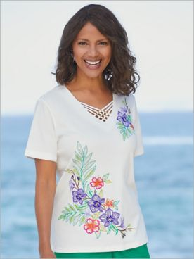 Alfred Dunner Knit Embroidered Tropical Floral Short Sleeve Top