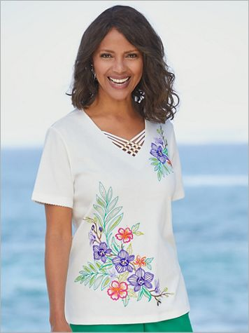Alfred Dunner Knit Embroidered Tropical Floral Short Sleeve Top - Image 2 of 2