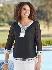 Checkmate Textured Top With Lace Trim by Alfred Dunner