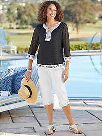 Checkmate Textured Top & Fring Capris by Alfred Dunner