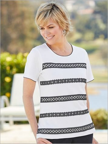 Checkmate Grommet & Lace Tee by Alfred Dunner - Image 1 of 1