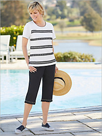 Checkmate Grommet Lace Tee & Fring Capris by Alfred Dunner