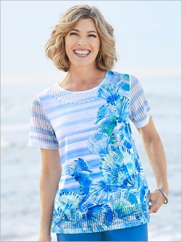 Asymmetrical Sea Horse Knit Top by Alfred Dunner