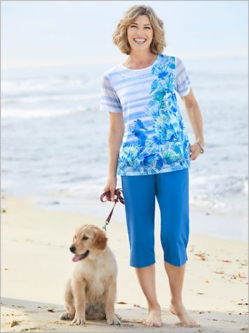 Asymmetrical Sea Horse Top & Canvas Capris by Alfred Dunner