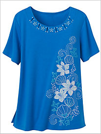Seashell Embroidered Knit Top by Alfred Dunner