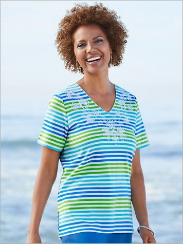 Multi Stripe Floral Embroidered Tee by Alfred Dunner