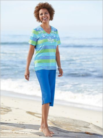 Multi Stripe Floral Embroidered Tee & Canvas Capris by Alfred Dunner
