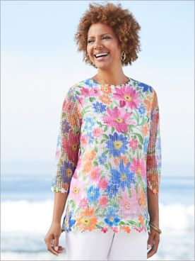 Diamond Lace Floral Mesh Knit Tunic by Alfred Dunner