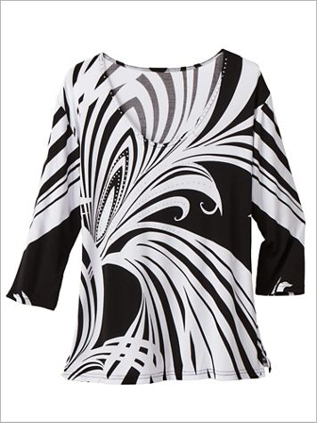 Contrast Swirls Print Knit Top - Image 2 of 2