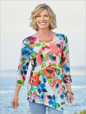 Geranium Floral Knit Tunic by Ruby Rd.