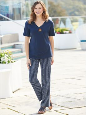 Button Layer Tee & Pucker Stripe Pants