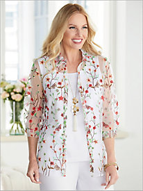 Butterfly Garden Embroidered Shirt