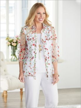 Butterfly Garden Embroidered Shirt & Look-Of-Linen Separates