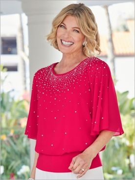 Embellished Blouson Blouse by Alex Evenings
