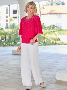 Embellished Blouson Blouse & Chiffon Pants by Alex Evenings