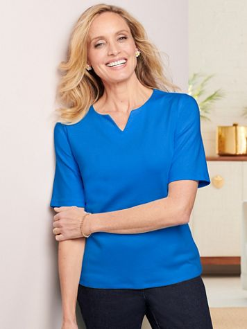 Essential Elbow Sleeve Split Neck Tee - Image 1 of 14