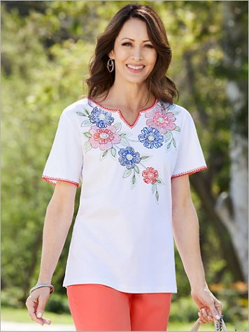 Embroidered Floral Yoke Tee by Alfred Dunner - Image 2 of 2
