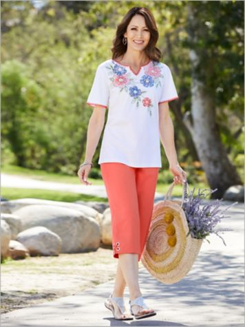 Embroidered Floral Yoke Tee & Grommet Trim Capris by Alfred Dunner