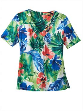Watercolor Tropical V-Neck Tee by Alfred Dunner